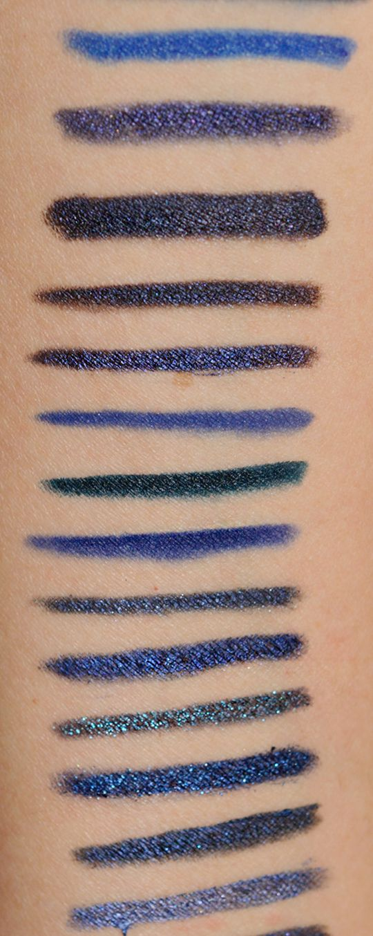 Navy Blue Eyeliners: A Comparison.  I saw a photo with a bright (but somehow subdued?) navy eyeliner that I need in my life! Since there was no product mentioned, this list should help!