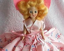 Vintage 1940s DUCHESS DOLL Parasol GIRL Continental Box Sleep Eyes Floral Dress Pink Rose Blue Forget Me Not Bow Satin Fringe Trim Blond Nib