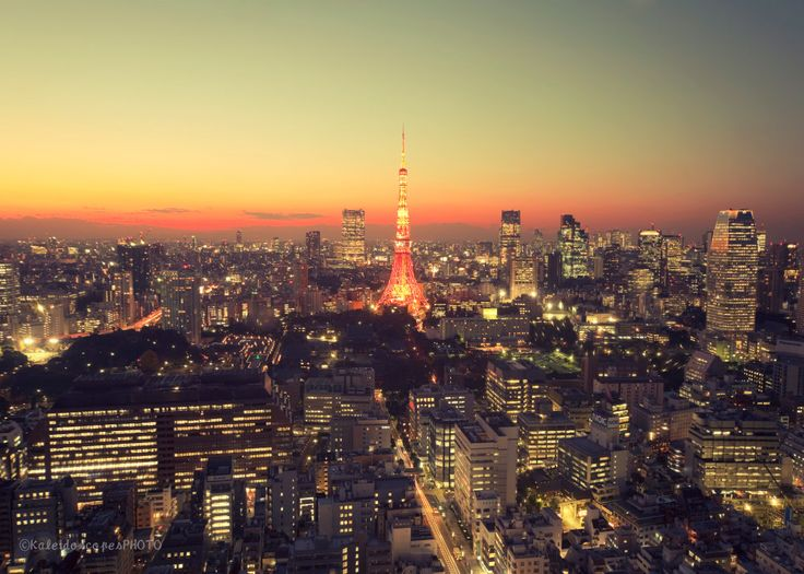 Tokyo City photography,original Tokyo Tower art print night photo dusk picture evening wall art sunset print cityscape décor yellow orange by KaleidoscopesPHOTO2 on Etsy