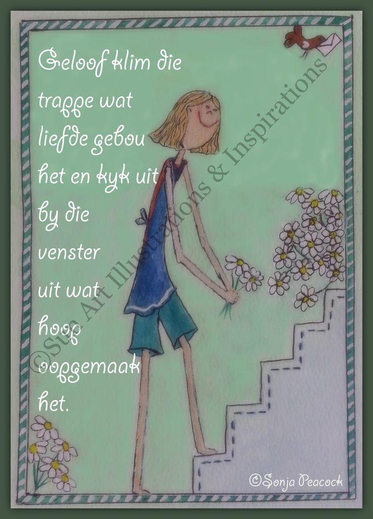 Geloof klim die trappe wat liefde gebou het via Sun Art Illustrations