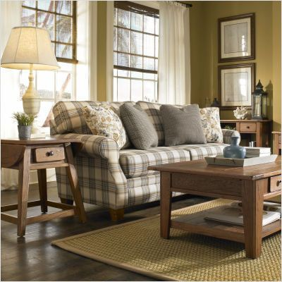 blue plaid sofa | Broyhill 6440-3Q Angeline Cottage Sofa In Blue Plaid