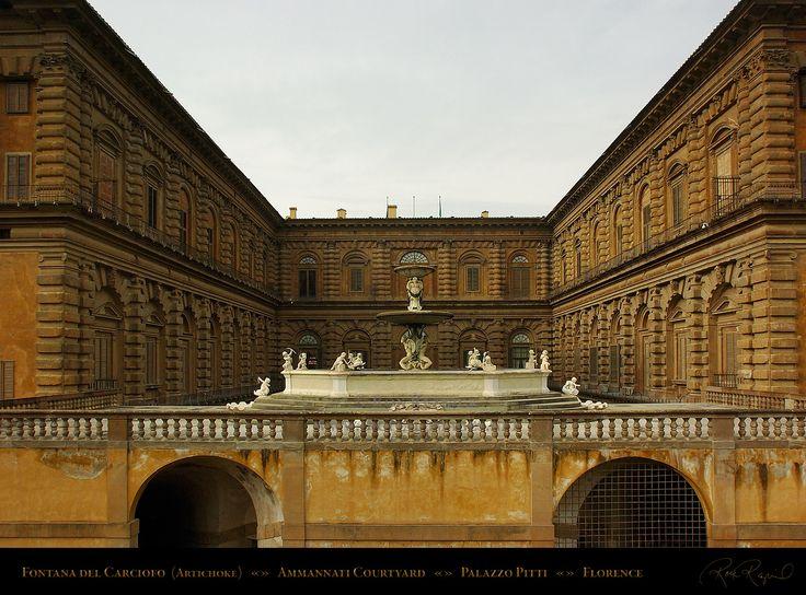 El palacio Pitti está situado en la orilla izquierda del Rio Arno entre la plaza Pitti y los jardines Boboli, ubicado en Florencia - Italia, construido originalmente como residencia para el banquero Luca Pitti, la construcción de este severo e imponente edificio fue encargado en 1458. Ilustradas personalidades como Vasari mantuvieron que Brunelleschi fue el verdadero arquitecto y proyectista   del palacio, empezó el diseño del palacio en 1440.