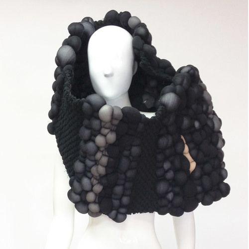 woven neck piece – recycled stockings and denim – Katinka Stützer