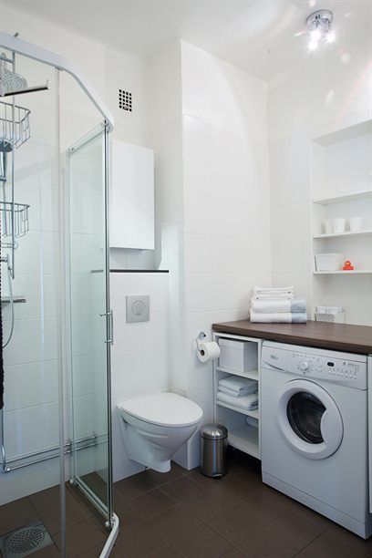 222 best images about renovation bathroom on pinterest for Washing machine in bathroom ideas