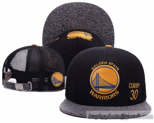 NBA Golden State Warriors Black Strapback Hats Mesh Caps Brim Reflected Light Hats