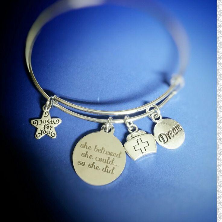 Nurse Jewelry, Nurse Bracelet, She Believed she could So She Did, Nursing School, New Nurse Gift, Nurse Charm Bracelet, RN Gift, LPN Gift