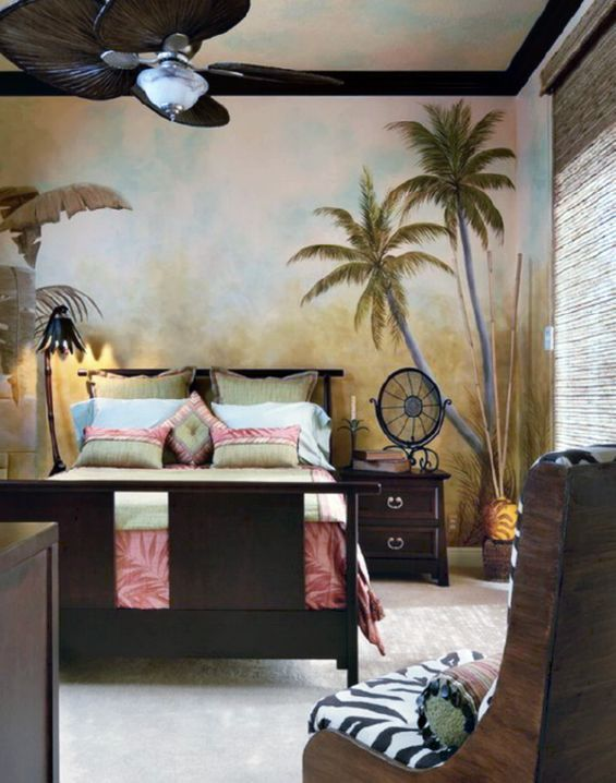 Great Palm Tree Wall Decor Painted In Tropical Vintage Bedroom Ideas