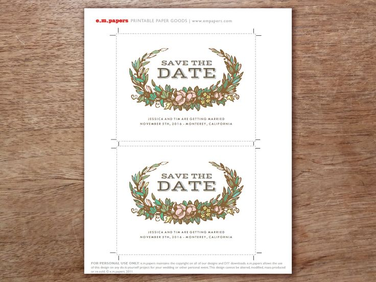 Pretty, Fast And Easy. A Printable Save The Date Template