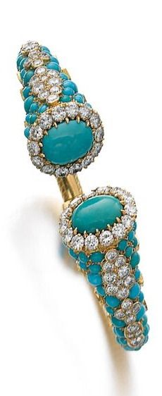 TURQUOISE AND DIAMOND TORQUE BRACELET, CARTIER, CIRCA 1960 Each terminal set with a cabochon turquoise framed with brilliant-cut diamonds