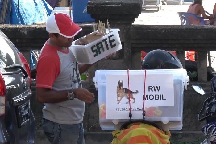 A dog meat vendor in Bali