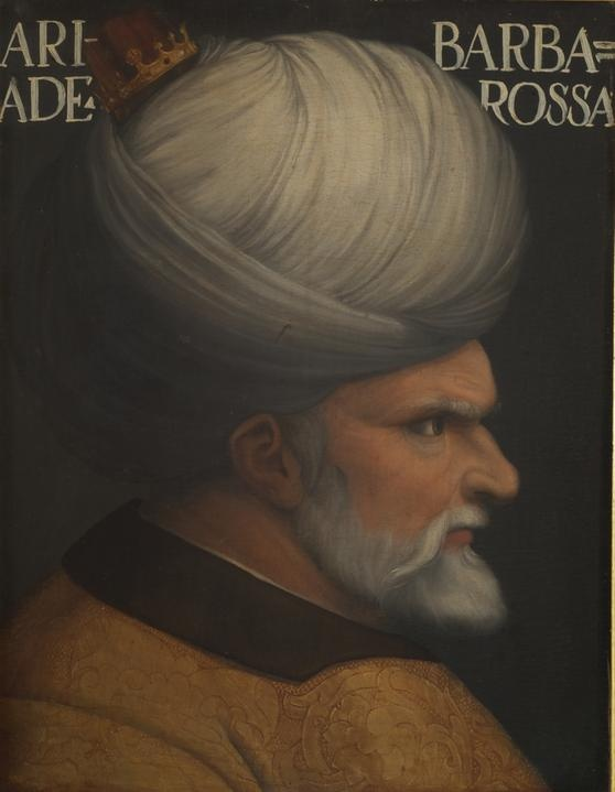 "Hayreddin Barbarossa, (Arabic: Khair ad-Din), was an Ottoman admiral of the fleet who was born on the island of Lesbos and died in Constantinople. Barbarossa's naval victories secured Ottoman dominance over the Mediterranean during the mid 16th century. He became known as ""Barbarossa"" (""Redbeard"" in Italian), a name he inherited from his elder brother Baba Oruç (Father Aruj) after Aruj was killed in a battle with the Spanish in Algeria."
