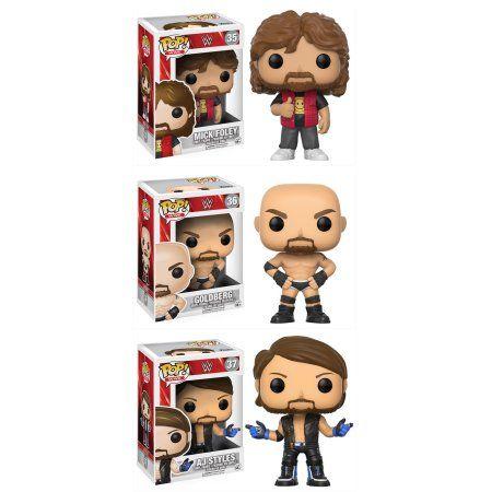 Funko POP! WWE Collectors Set; Mick Foley Old School, Goldberg Old School, AJ Styles, Multicolor