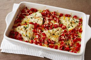 Cheesy Tomato Fish Bake recipe-- could do without the actual tomatoes, and I imagine it would taste the same without specifically KRAFT ingredients, but still...
