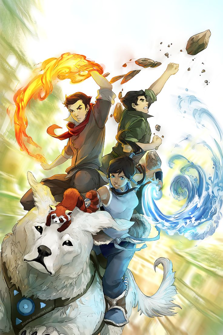 Tags: Fanart, deviantART, Yuumei, Tumblr, Avatar: The Legend of Korra, Mako (Avatar: Legend Of Korra), Bolin, Korra, Naga (Legend of Korra),...