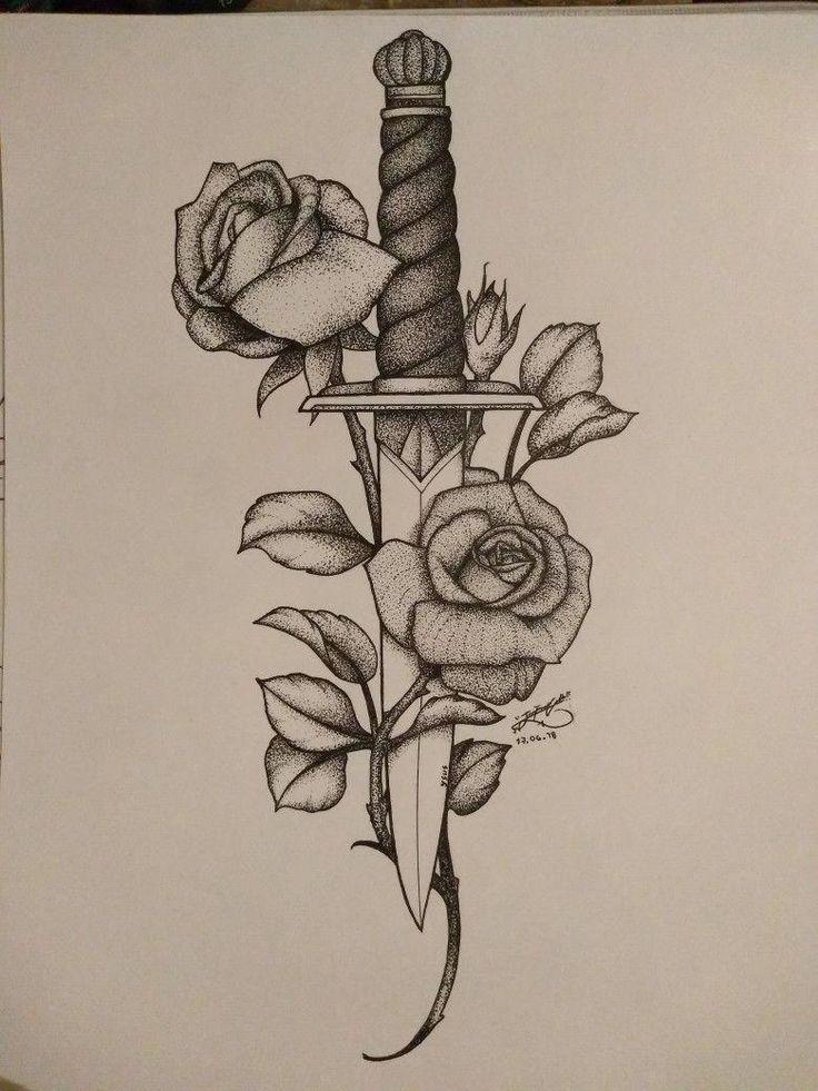 Messer Rose   Tätowierungsidee #Samoantattoos #wristtattoos   – Pfeil-Messer & Waffen