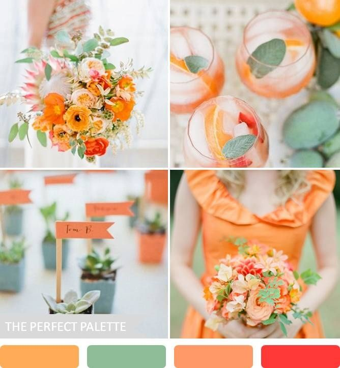 The Perfect Palette: 10 Wedding Color Palettes That Aren't Boring! Love the orange and sage <3