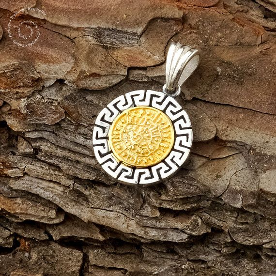 Phaistos Disk/Silver Meander Pendant Greek by CircleOfLifeGreece