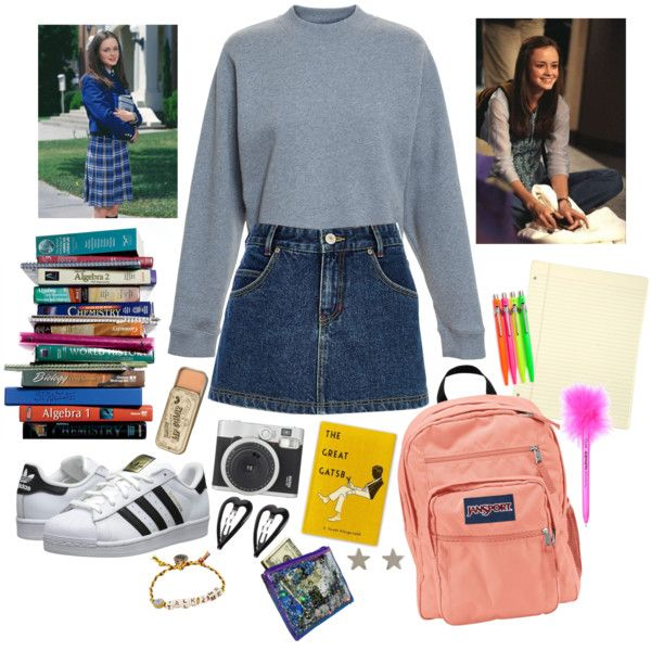 rory gilmore by thxjesus on Polyvore featuring polyvore Mode style Acne Studios River Island adidas Originals JanSport Venessa Arizaga Jennifer Meyer Jewelry Forever 21 7 For All Mankind school gilmoregirls rorygilmore