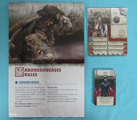 Knight Pack - Rules leaflet for the Abominations, Survivor ID Cards and Spawn Cards for Grin.