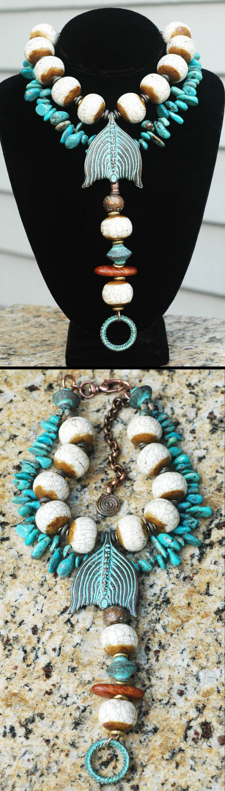 """Custom Necklace Design: Beautiful Bone & Turquoise Drop Pendant Collar Necklace I just created this fascinating statement necklace for a regular client from some of her old necklaces that she needed to """"recycle"""" into something new and bold and fresh! Contact me to """"recycle"""" your old pieces kelly@xogallery.com"""
