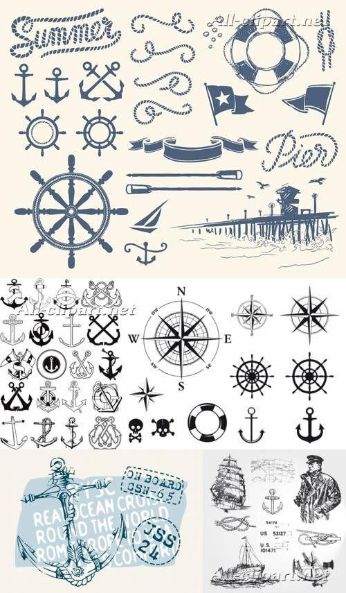 Якорь и морские символы - векторный клипарт