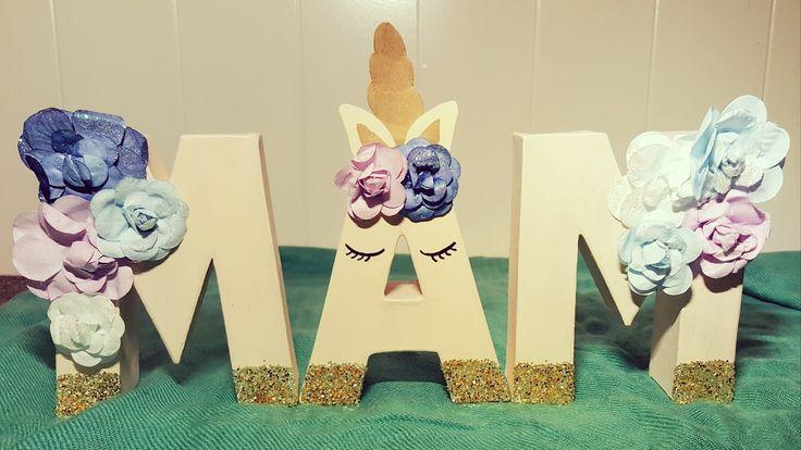 Nursery letters unicorn girl