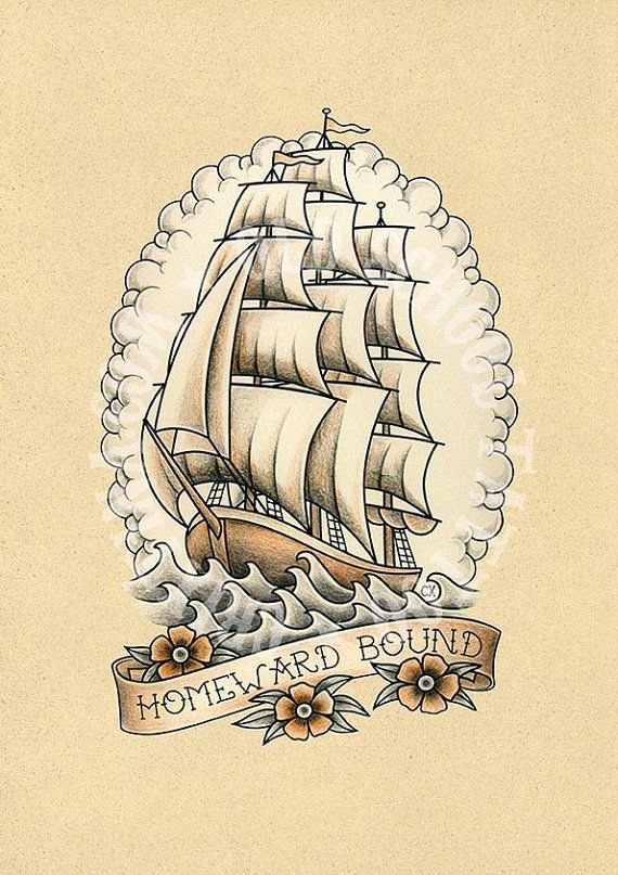 T08. Tattoo illustrations. Sailboat Ship Sea frigate por Retrocrix