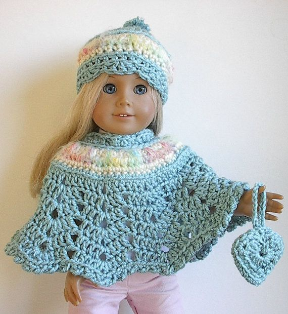 18 Doll Clothes Crocheted Poncho Set in Seafoam by Lavenderlore