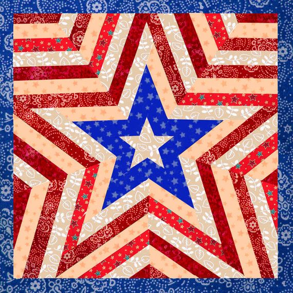 Free Star Flower Quilt Patterns : One Star Americana Patriotic Mini Quilt Pattern, easy quilt pattern, paper pieced quilt pattern ...