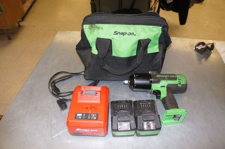 "Snap On 1/2"" Electric Impact Wrench Model CT8850G W/2 Batts, Cahrger & Bag…"