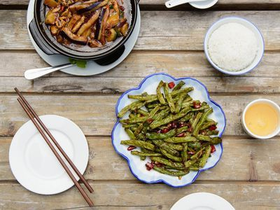 Chinese celery is combined with chilies, soy sauce and sugar in this simple stir fry recipe.