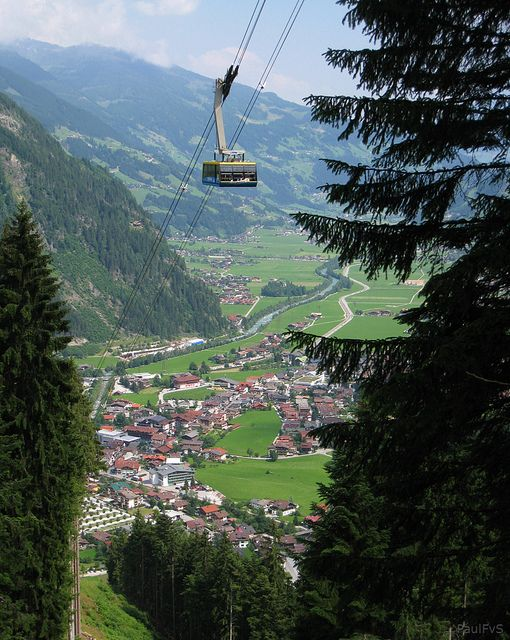 """Ahornbahn - Austria's largest cable car also used as a """"floating cafe"""" when the weather is bad, Mayrhofen."""