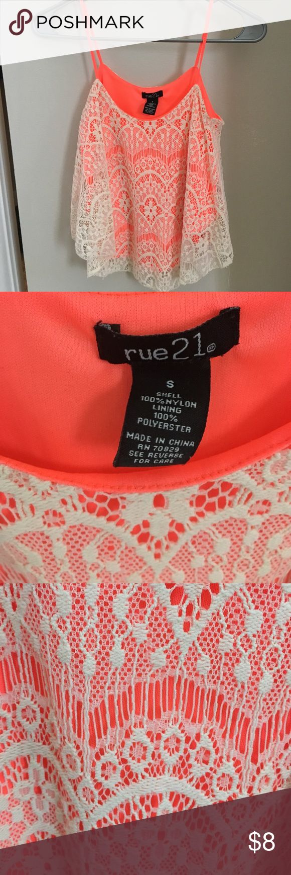 Flowy neon orange crop top Flowy crop top perfect for summer! Only worn a couple times, great condition. Rue 21 Tops Crop Tops