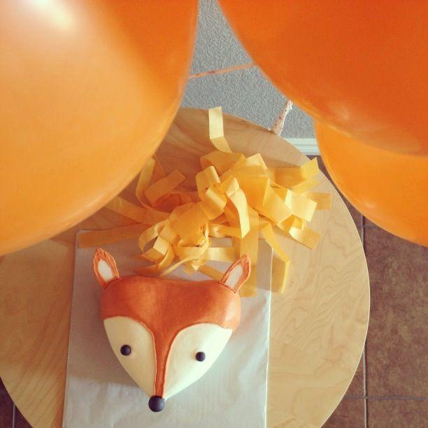 Liam's one year birthday cake.  Fox cake