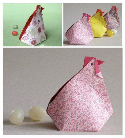 "origami hens with video instructions - Fun Mother's Day craft. You could make a tag that said ""You Rule the Roost"" or include a plastic egg for every child of the family with a message inside from that child."