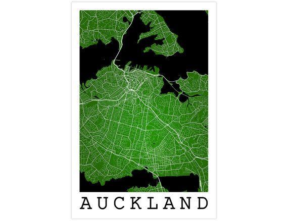Auckland Street Map, Auckland New Zealand, Modern Art Print