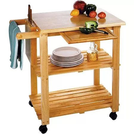 Kitchen Utility Cart, Solid Beechwood