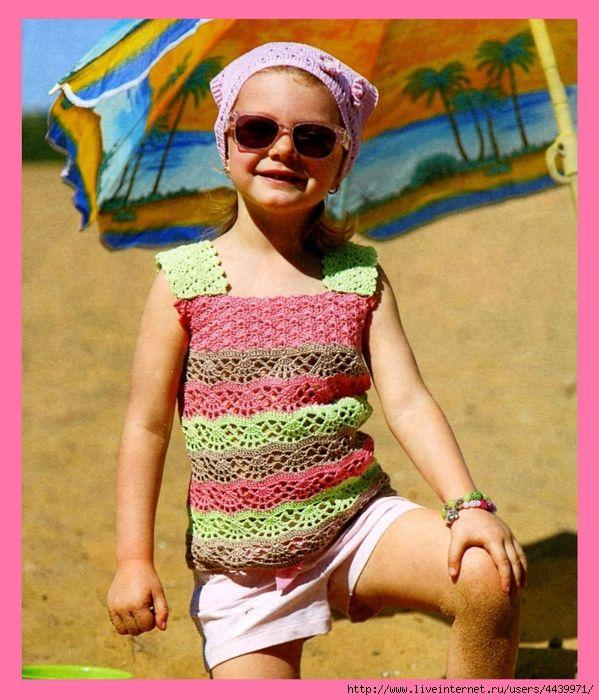 Озорные петельки: Полосатый топ для девочки 4-5 лет