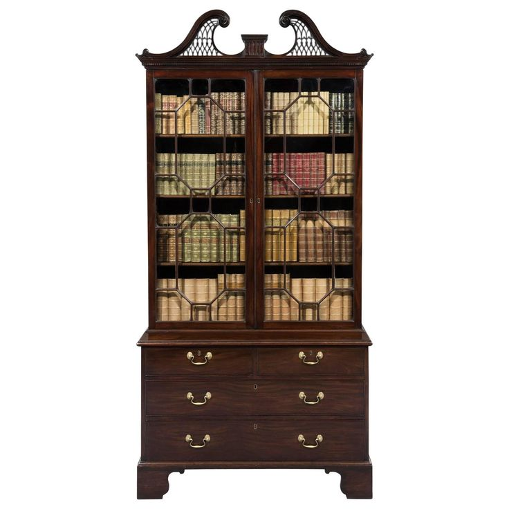 Early George III Chippendale Period Mahogany Bookcase  | From a unique collection of antique and modern bookcases at https://www.1stdibs.com/furniture/storage-case-pieces/bookcases/