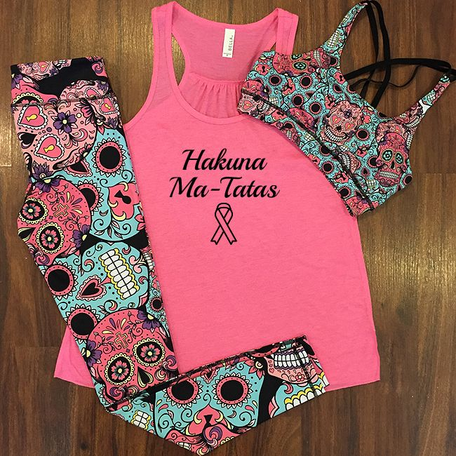 Breast cancer awareness month workout outfit.  10% of sales from all breast cancer awareness shirts will be donated!