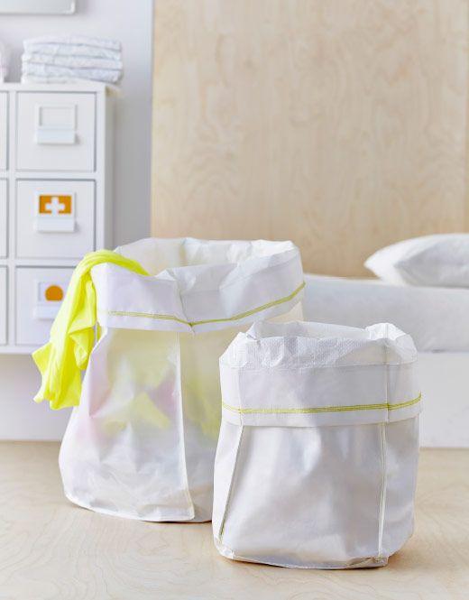 200р 2 шт Две белые тканевые корзины – большая и маленькая