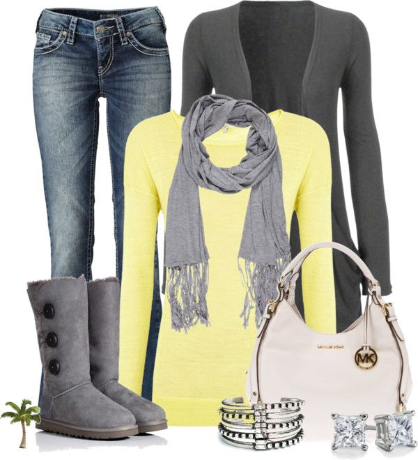 Love the yellow and gey....nice to see we can still wear pretty colors during the colder months....love it