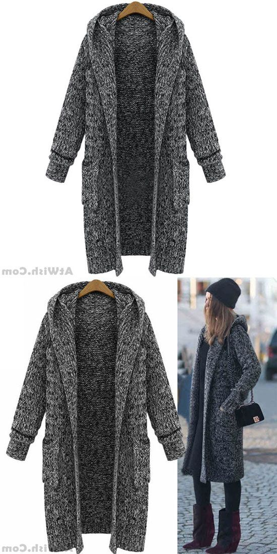 9e5e245491f10 Hooded Lapel Knit Long Cardigan Sweater Coat #sweater #coat #cardigan