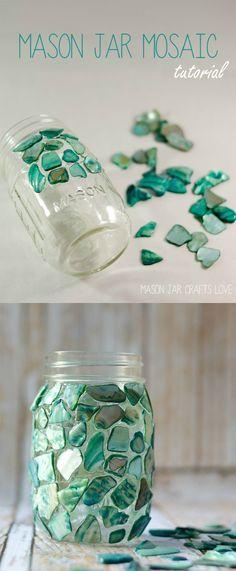 Mason Jar Craft Ideas - Mason Jar Mosaic - Mosaic Craft - @Mason Jar Crafts Love