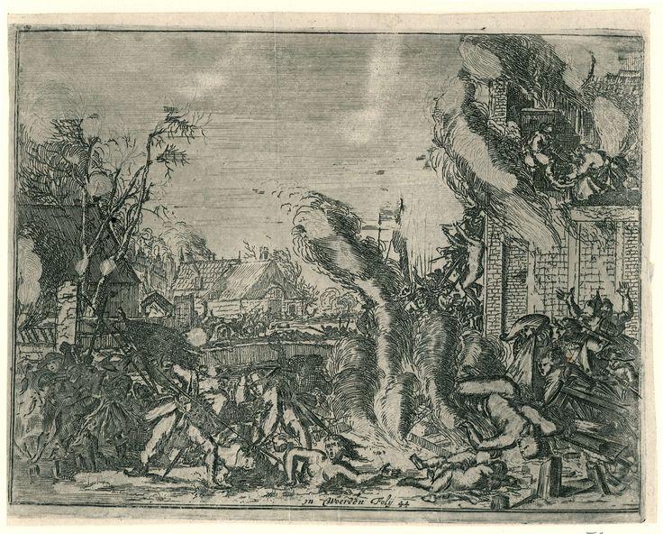 Anonymous | Wreedheden in een dorp in de winter, 1672, Anonymous, Romeyn de Hooghe, 1673 - 1674 | Voorstelling van de wreedheden gepleegd door de Franse troepen in Woerden in de winter van 1672. De prent is gekopieerd naar de ets van Romeyn de Hooghe uit 1673 (FMH 2439/5) en toont het vermoorden van de bewoners van een dorp. Op de voorgrond dwingt een Franse soldaat een naakte vrouw door het ijs. Rechts een brandende woning met de naakte lichamen van de vermoorde bewoners op een stapel voor…