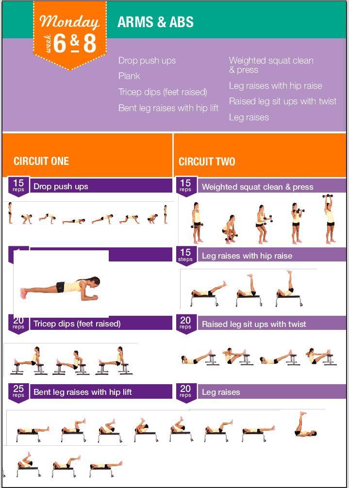 Kayla Itsines bikini body guide week 6 & 8 workout monday