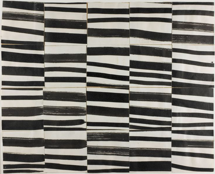 "abridurif:  Ellsworth Kelly, Study for ""Cité"" : Brushstrokes Cut into Twenty Squares and Arranged by Chance, 1951"