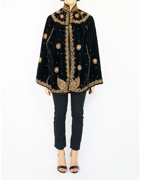 Embroidery vintage velvet cape.
