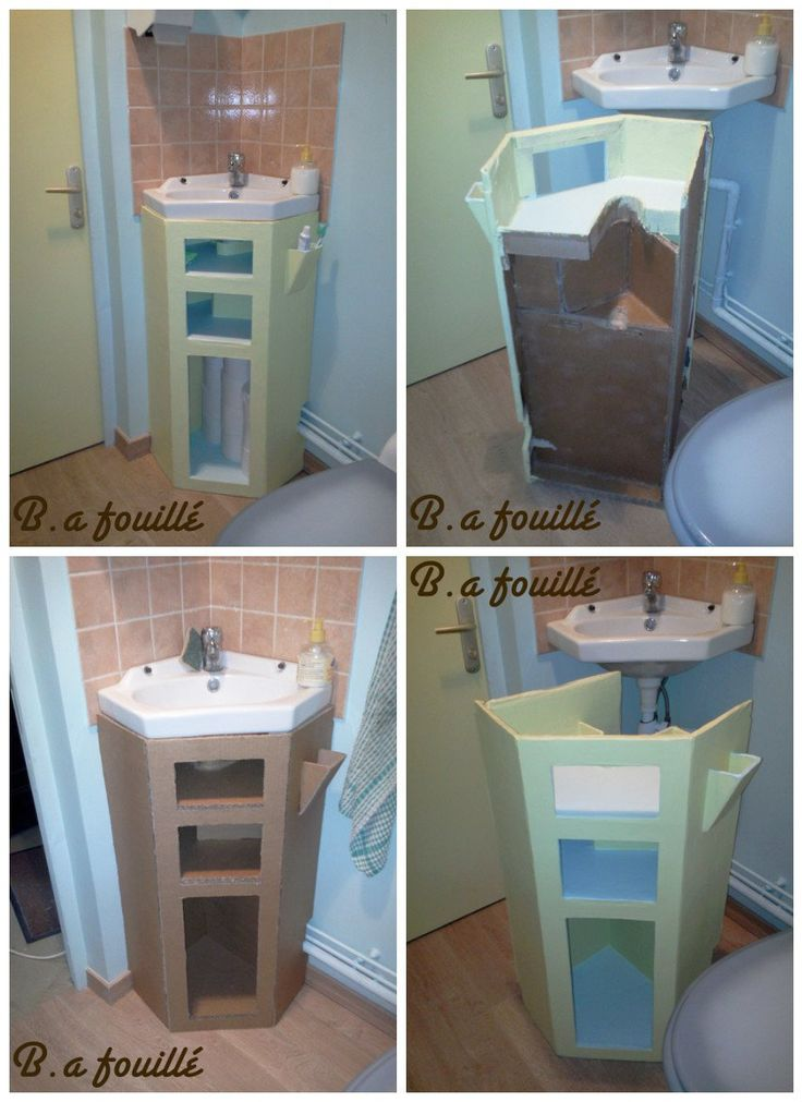#Bathroom, #Cardboard, #Furniture, #Upcycled This bathroom furniture is made of upcycled cardboard. Each shelf is on the measure with piping lavabo. You can put your toothbrush in the little receptacle on the side. The paint is waterproof.
