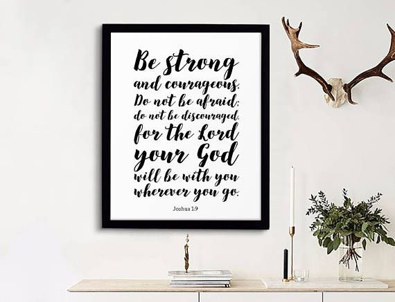 Fathers Day Gift, Be strong and courageous, Scripture Printable, Printable Bible Verse, Christian Quote, Calligraphy, Joshua 1:9, Daddy Gift